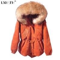 2018 PANA caliente mujeres chaqueta de invierno grande Pieles de animales collar mujeres Chaquetas con Sudaderas cremallera cordón parka mujer manga larga