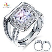 Vintage Style 2 Carat CZ Simulated Diamond Solid Sterling 925 Silver 2 Pc Wedding Engagement Ring