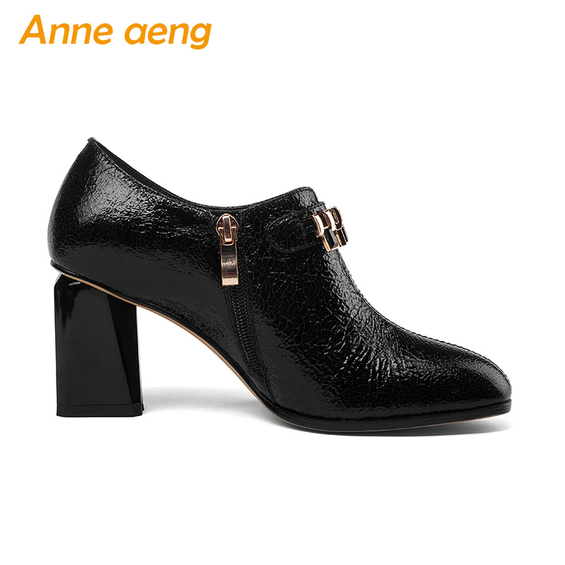 En Carré automne Haute Black Printemps Zip Noir 2018 Pompes Dames Cuir Nouveau Véritable Femmes Sexy Bout Bureau Chaussures Talons E8PCtqwxC