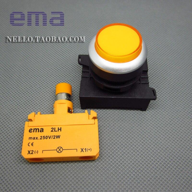 [SA] EMA 22 мм проекционный светильник крышка E2I2* цвет красный, желтый синий и белый светодиодный AC110/220 V- 10 шт./лот