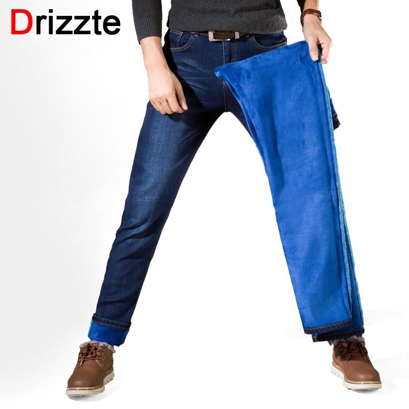 Drizzte Winter Fleece Men Jeans Slim Fit Mens Fashion Cotton Denim Jeans Casual Pants Warm For Snow Stretch