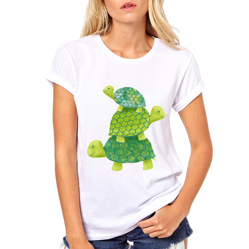 New Women T Shirt Brand Cartoon tortoises Print T-shirt Designer Funny Stack Tops Tee Cute animals