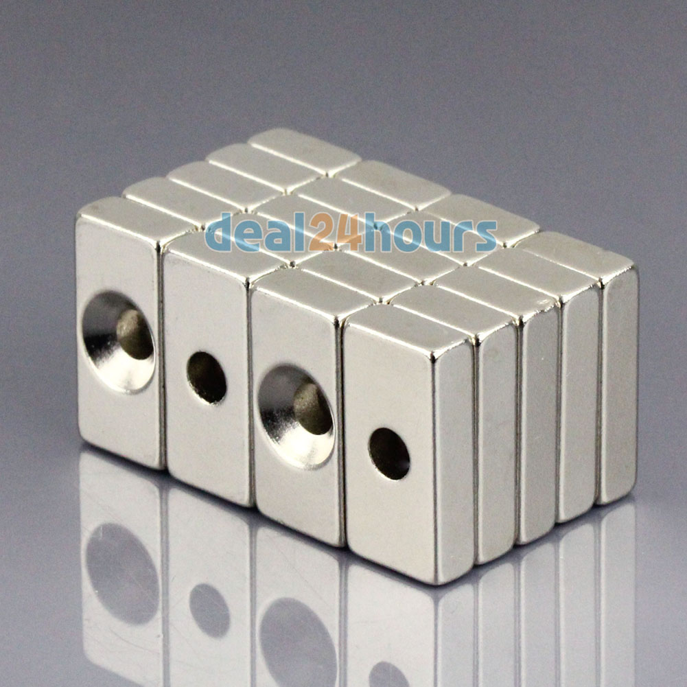 OMO Magnetics 20pcs Super Strong Block Cuboid Neodymium Magnets 20 x 10 x 5mm Countersunk Hole 4mm Rare Earth N50 omo magnetics 10pcs big bulk super strong cuboid block magnets rare earth neodymium 50 x 50 x 5 mm n35 wholesale