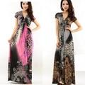 Бесплатная Доставка Женщины Leopard Богемия Платье Высокой Талии V-образным Вырезом цельный Рубашка Пляж Длина Пола Платье Плюс Размер