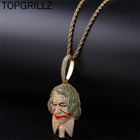 TOPGRILLZ Hip Hop Joker supervillain Pendant Necklace Micro Pave Cubic Zircon Charm Iced Out Jewelry For Men and Women Gift