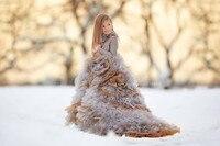 Fall Winter Fashion Hooggesloten Multi Gelaagde Bloem Meisje Jurken Lange Mouwen Ruches Ruches Kids Trailing Toga 2-12 Jaar Oude