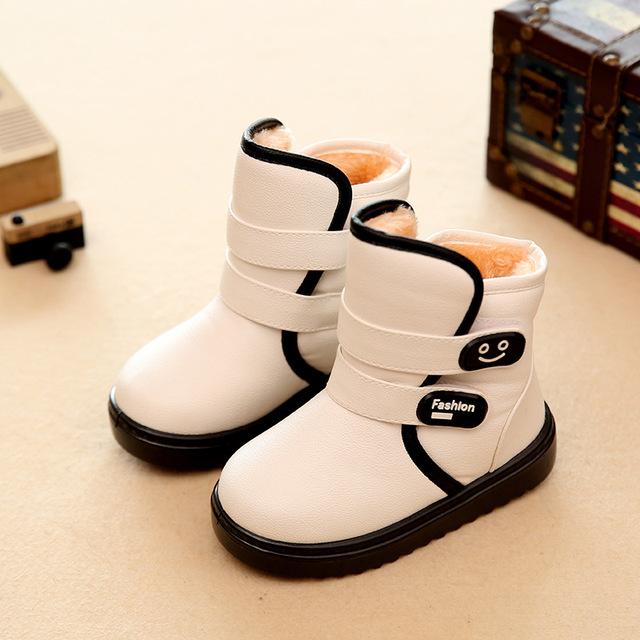 2016 nuevos niños impermeables botas de nieve antideslizante grueso keep warm cómodo niños niñas algodón botas zapatos lindos para los niños