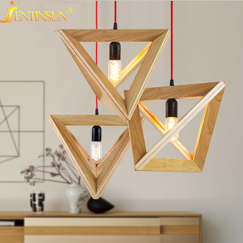 Hanging Lamp Design: Simple OAK Wooden Rectangle Pendant Lights Creative
