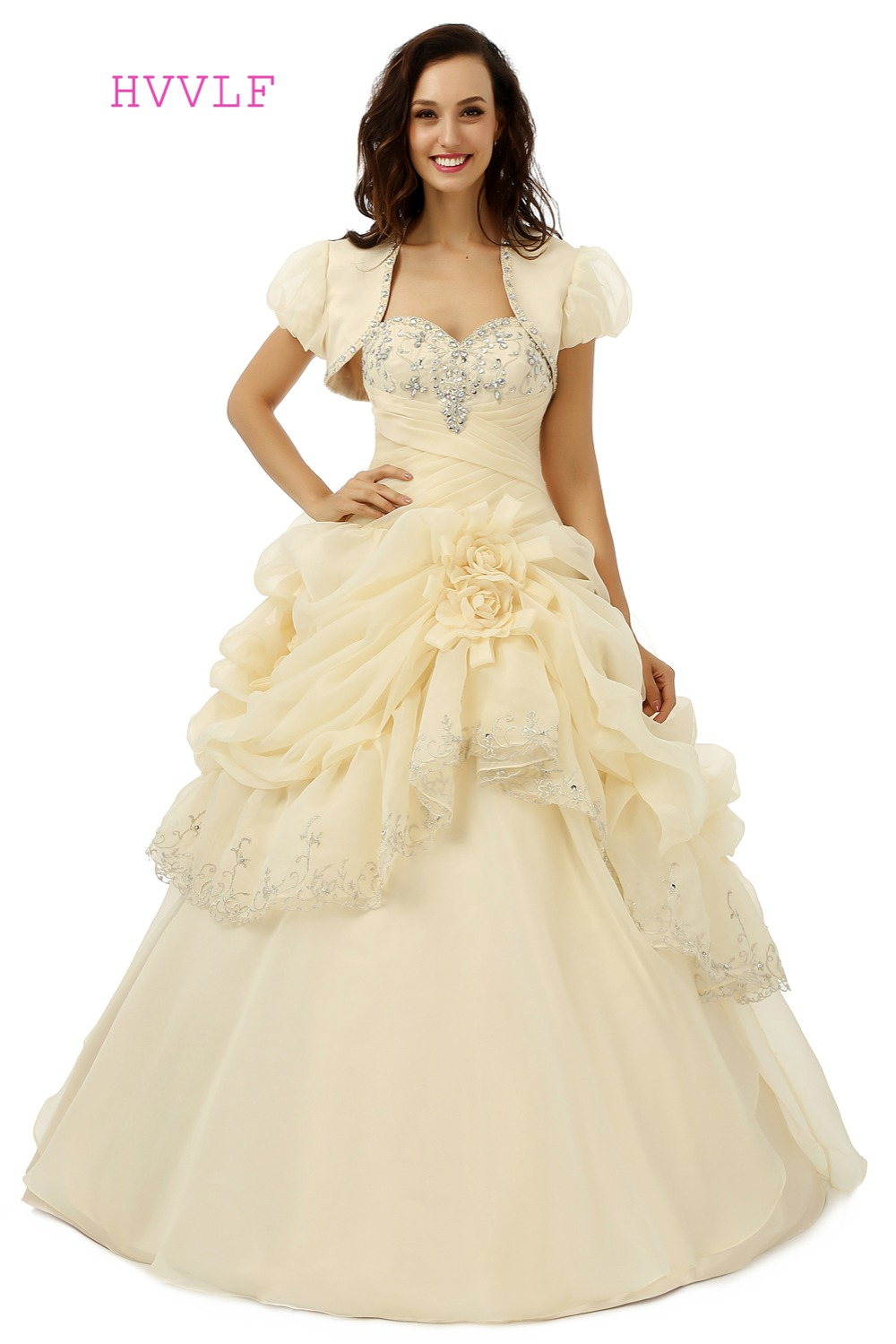 With Jacket 2018 Quinceanera Dresses Ball Gown Sweetheart Organza Gold Pleated Flowers Beaded Crystals Cheap Sweet 16 Dresses