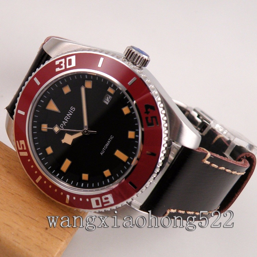 40mm Parnis PVD GMT Black dial Sapphire Glass Ceramic Bezel Automatic Watch все цены