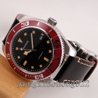43mm Parnis Black Dial Yellow Mark Sapphire crystal Luminous Automatic Mens Watch  leather strap Deployment Buckle