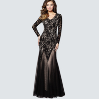 New Design Fit And Flare Floral Lace Sleeve Long Maxi Dresses For Women V Neck Mesh