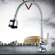 Dofaso 360 rotate taps all copper cold and hot mixer water kitchen faucets Double Holes Flexible Kitchen Faucet Mixers Sink Tap kitchen sink faucet with plumbing hose all around rotate swivel 2 function water outlet mixer tap faucet 5051