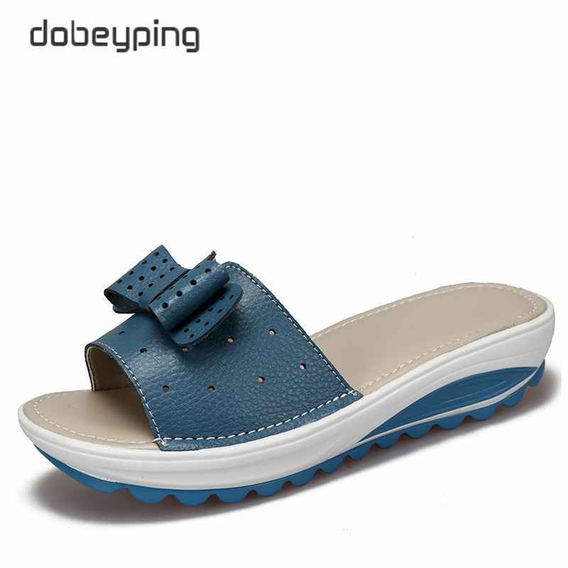 2017 New Women's Sandals Cow Leather Women Flats Shoes Platform Wedges Female Slides Beach Flip Flops Summer Shoe Lady 35-42
