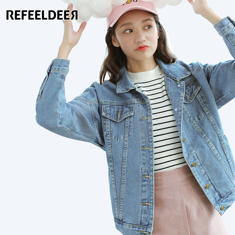 Refeeldeer Loose Jeans Jacket Women 2017 Spring Autumn Denim Jacket Female Casual Long Sleeve Women Basic