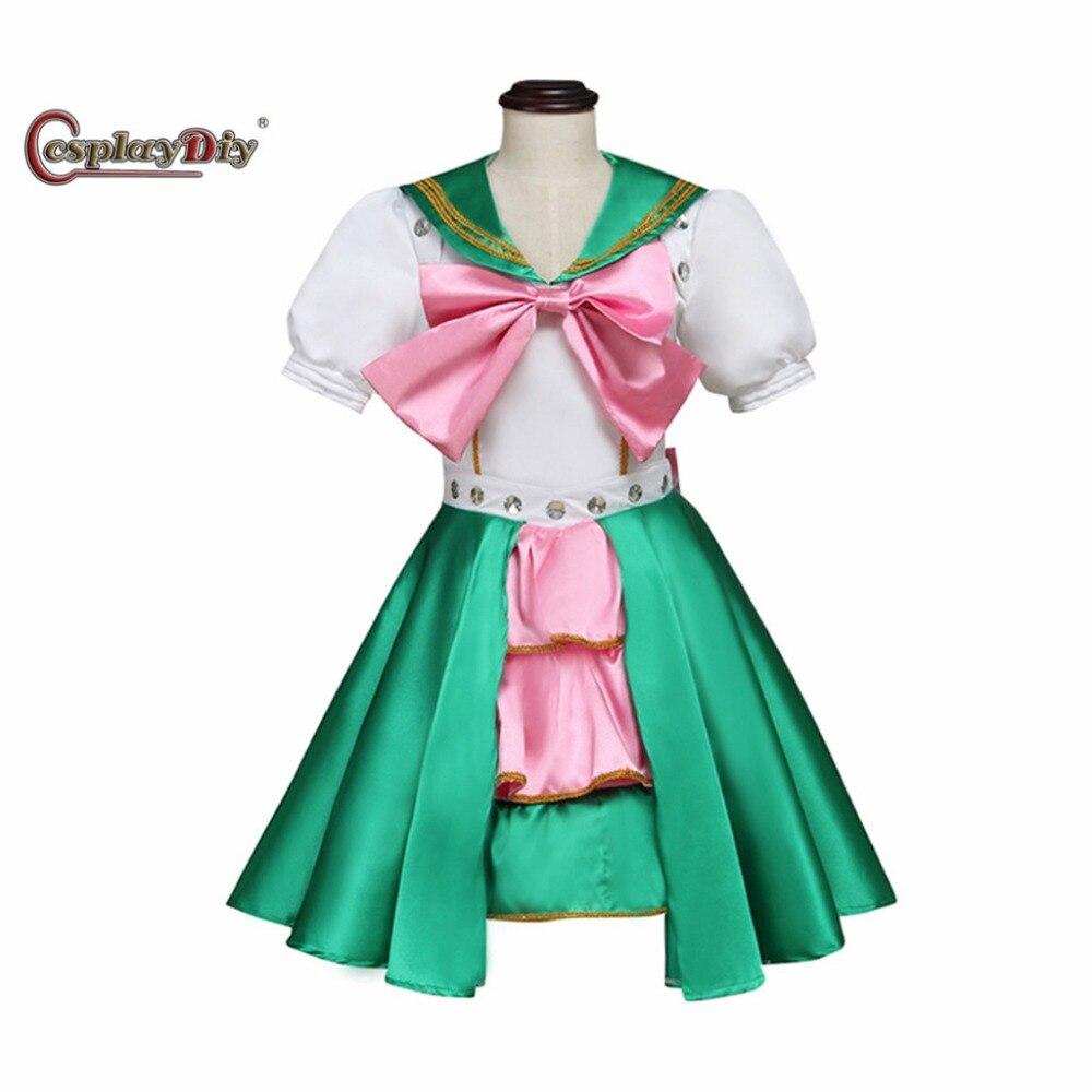 Cosplaydiy Momoiro Clover ariyasu momoka Green Dress Costume Kids Dress Halloween Carnival Party Cosplay Clothes Custom Made J5