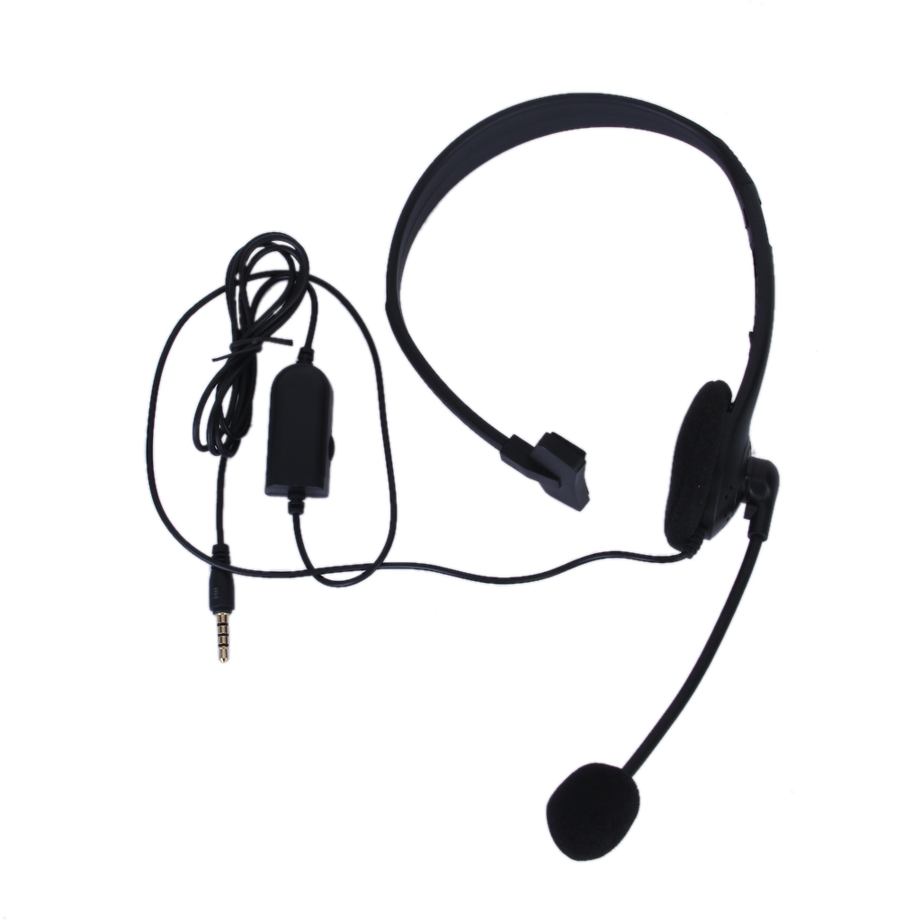 Black 3 5mm Single Earpiece Stereo Headphone Earphone with Microphone Volume Control for PlayStation 4 in Replacement Parts Accessories from Consumer Electronics