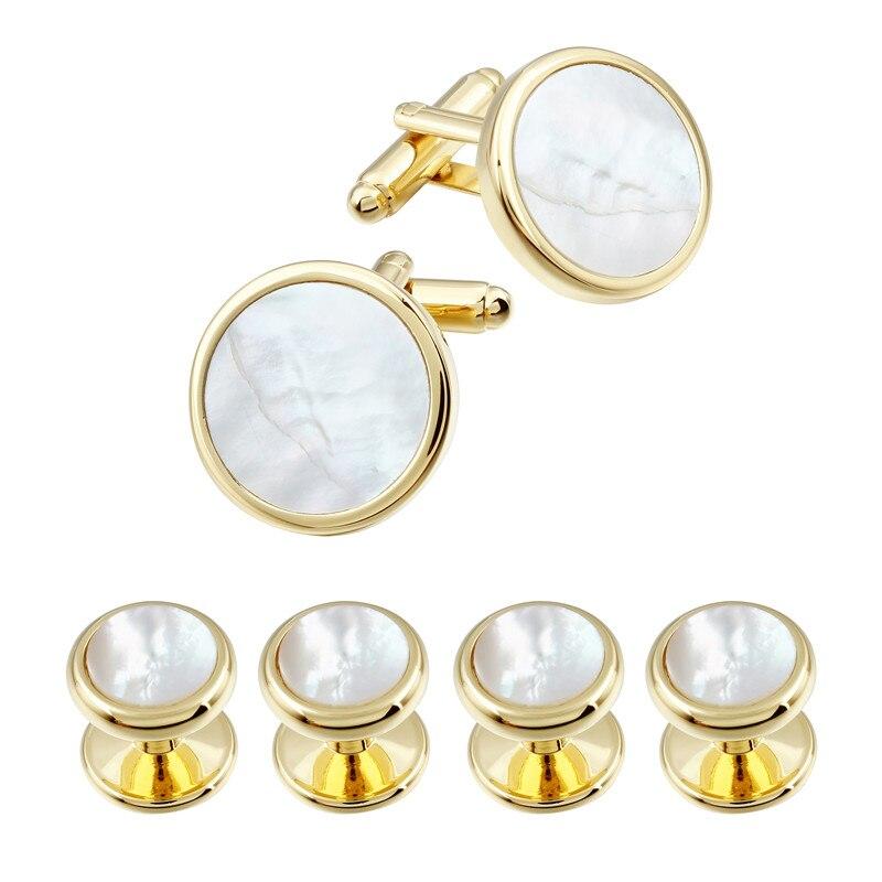 HAWSON Classic Pearl of Pearl Manschettknappar och dubbar för bröllop Tuxedoskjorta