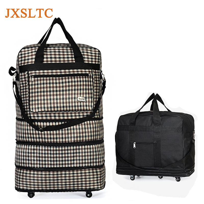 JXSLTC Waterproof Portable Travel Rolling Suitcase Air Carrier Bag Unisex Expandable Folding Oxford Suitcase Bags with