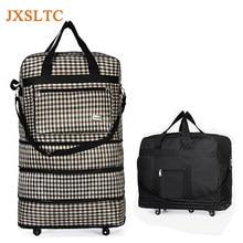 9e3cb009322e JXSLTC водостойкий портативный Дорожный чемодан на колесиках сумка унисекс  Расширяемый Складной Оксфорд чемодан сумки с колесами