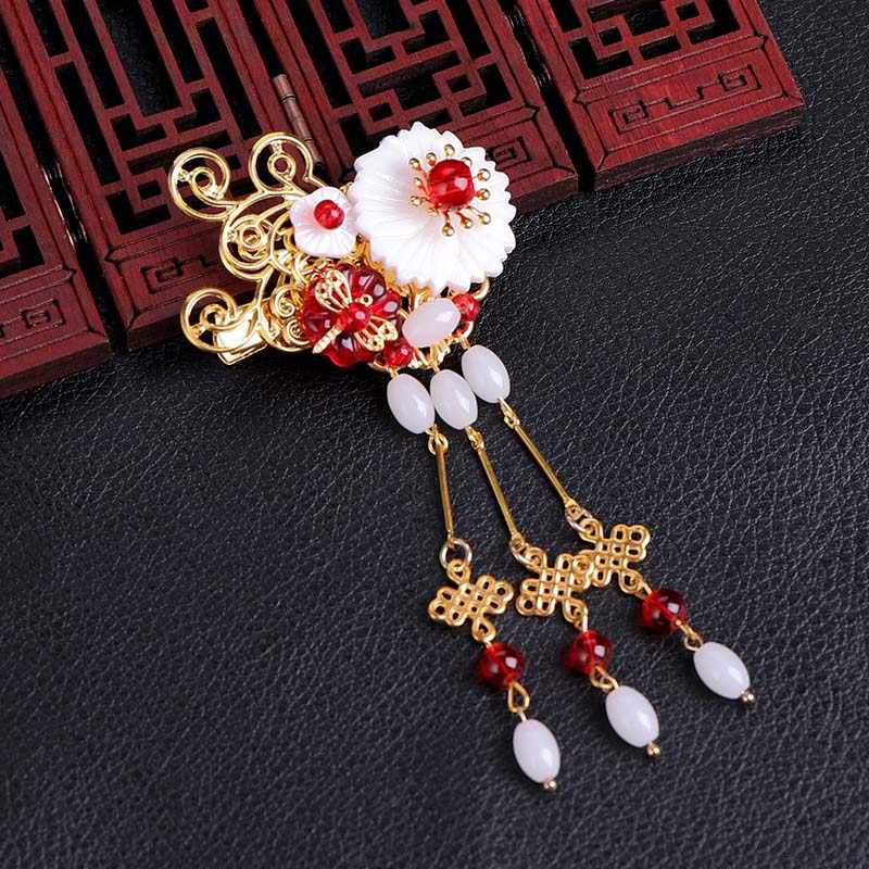 Antique Chinese Clothing Exquisite White Beads Hairclip Headwear  Costume Bead Tassel Floral Bridal Hair Pins Jewelry Accessorie