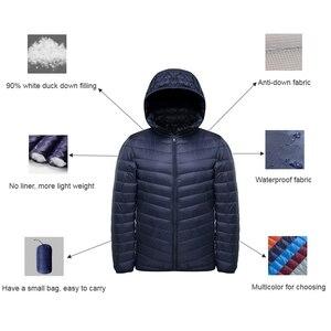 Image 4 - NewBang uzun kaban erkek ultra hafif şişme mont erkek kışlık ceketler hafif ceketler kapüşonlu Parka rüzgarlık tüy Parka