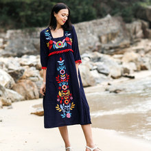 2019 Summer Bohemia heavy embroidery flower dress loose cotton of the for a holiday womens dresses new arrival