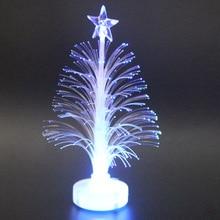 Цветной волоконно-оптический светодиодный светильник мини Рождественская елка с верхней звездой на батарейках HUG-предложения