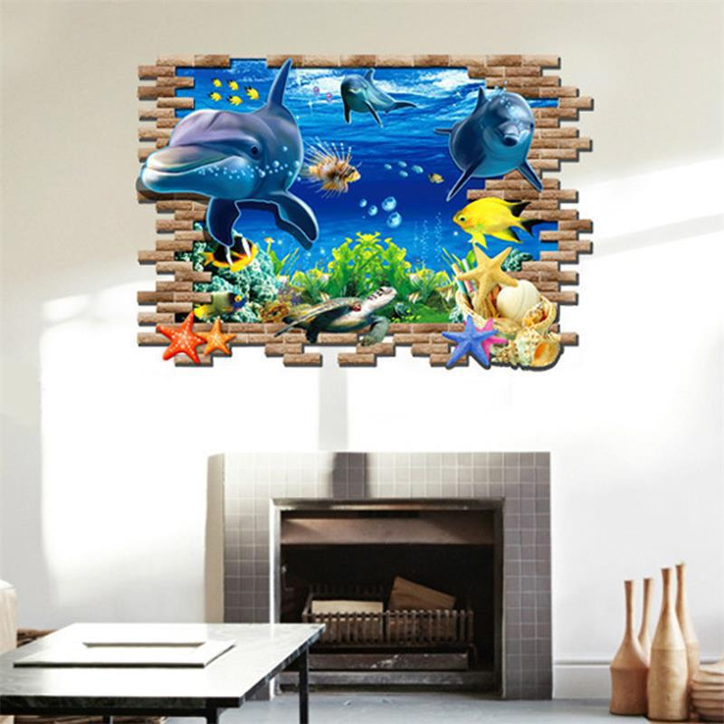 3d seabed fish wall sticker nursery wall decor tattoos baby fish ocean underwater world wallpaper home