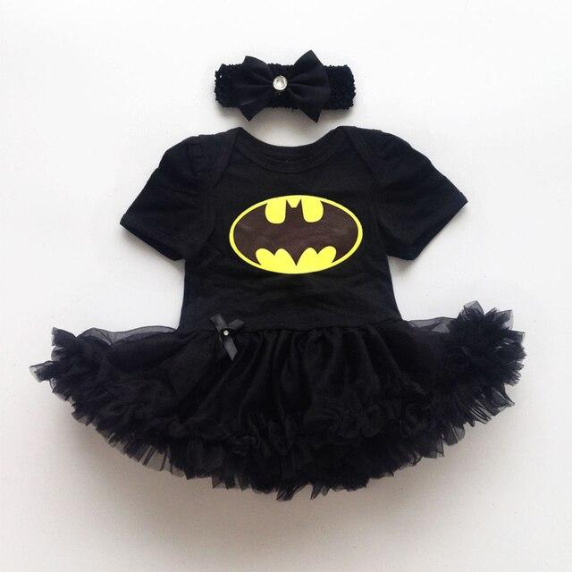 04138bc9b807 Newborn Baby Girl Batman Dresses Infant Romper Bodysuit Costume Black Girls  Dress Headband 2 pcs Sets CL0842