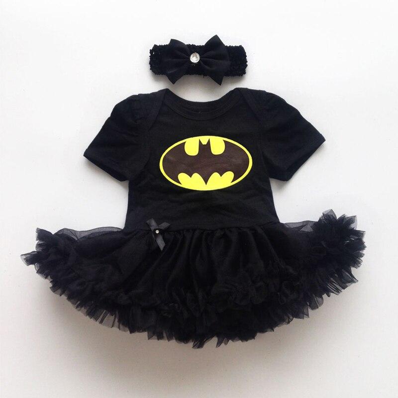 Newborn Baby Girl Batman Dresses Infant Romper Bodysuit Costume Black Girls Dress Headband 2 pcs Sets CL0842