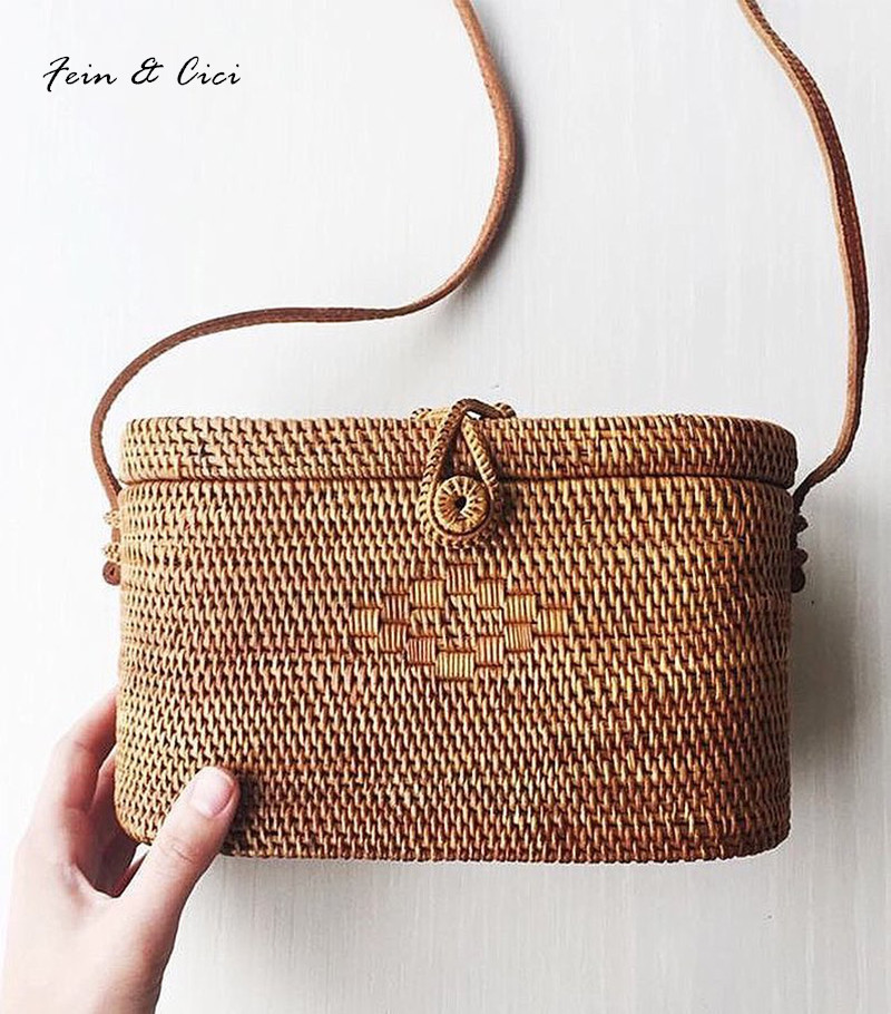 Straw Bags Rattan bag Women Beach Bag Small Bohemian Handbags Summer 2017 Vintage Handmade Crossbody leather shoulder beach straw bags women appliques beach bag snakeskin handbags summer 2017 vintage python pattern crossbody bag