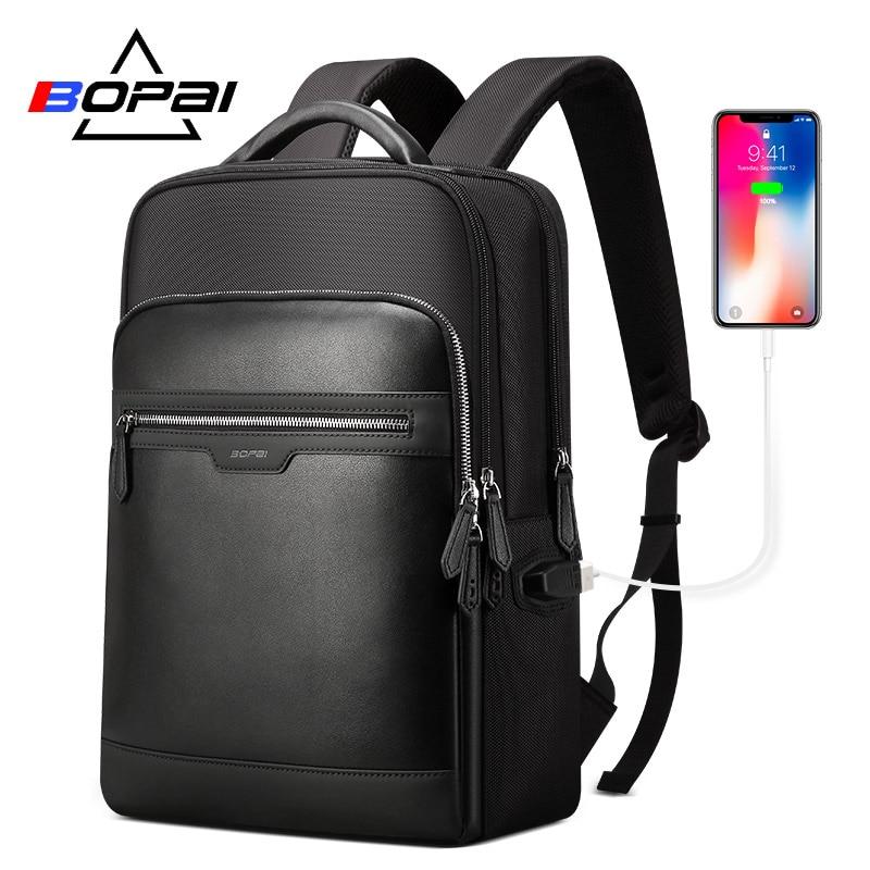 BOPAI Hidden Anti Theft Zipper Backpack for Men Business Backpack Student School Backpack Computer Male Backpacks
