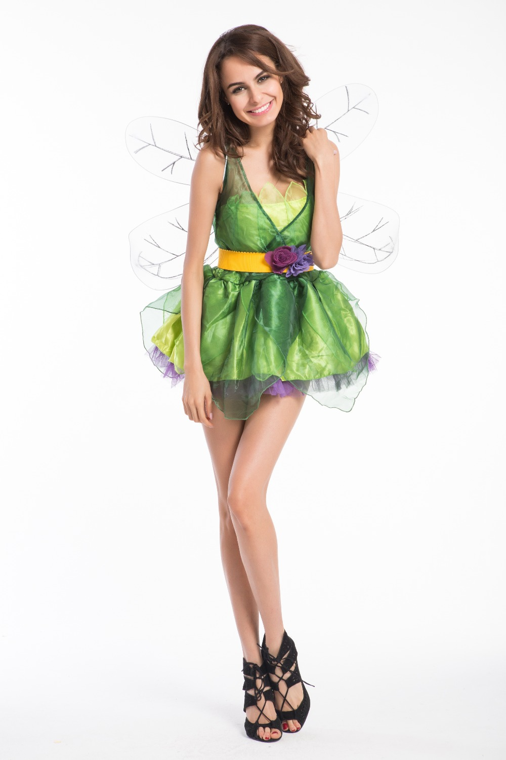 free shipping sexy woodland green fairy tinkerbell dress outfit adult halloween costume new 1056 8638 - Green Fairy Halloween Costume