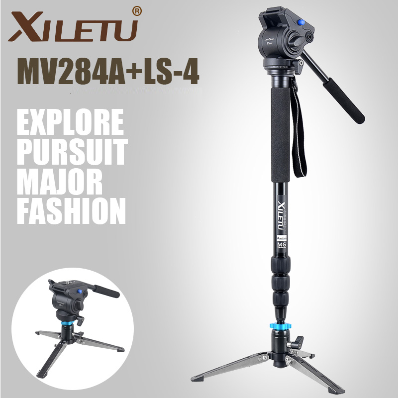 XILETU Alloy aluminum Fluid head camcorder Video camera monopod 8kg bear with Fluid Bowl Pan Head Dolly table tripod leg base