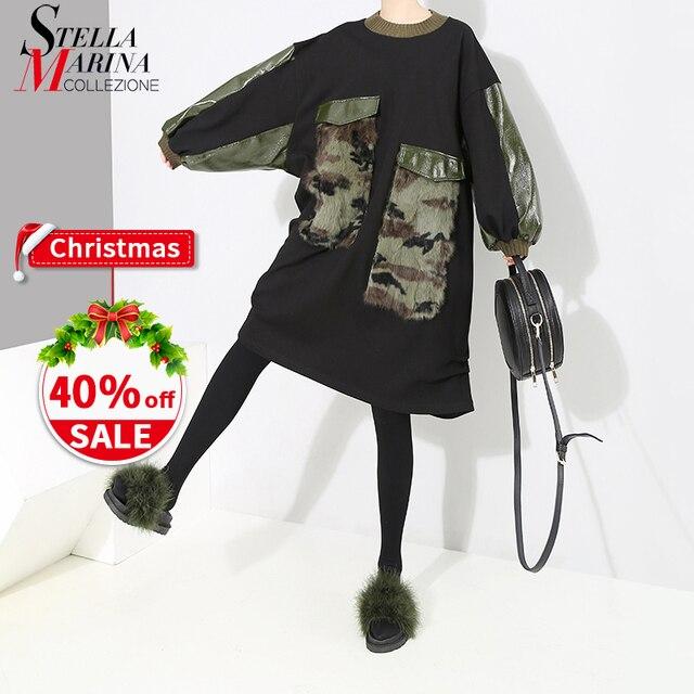 2018 Korean Style Women Winter Black Midi Dress With Big Pockets Long  Sleeve Plus Size Female bc6332fdce88