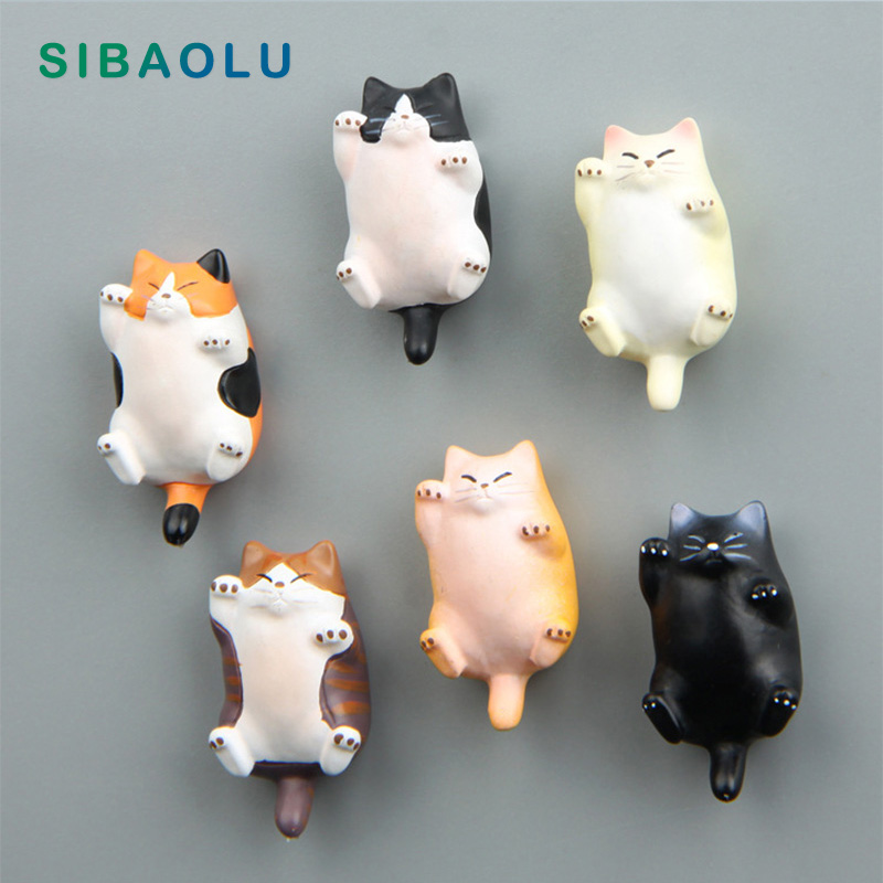 Lovely Kitties Fridge Magnets Cat Model Figurine Whiteboard Sticker Refrigerator Magnets Animal Kids Toy Gifts Home Decoration
