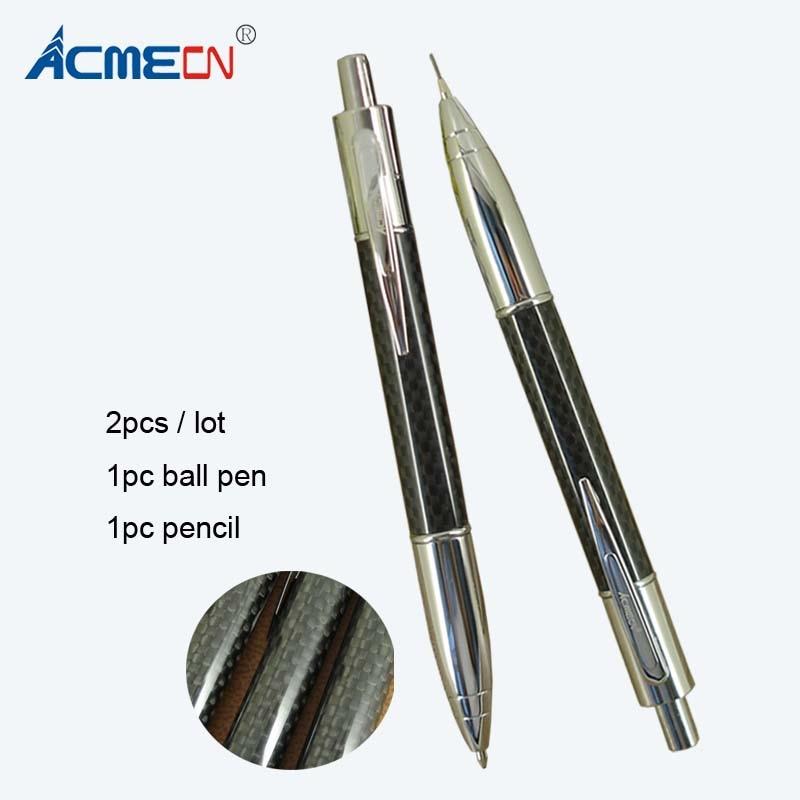 ACMECN 2pcs / lot  Creative Propelling Writing Stationery Sets Carbon fiber Ballpoint Pen & 0.7mm Mechanical Pencil Twin Set