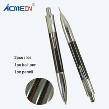 ACMECN 2pcs / lot  Creative Propelling Writing Stationery Sets Carbon fiber Ballpoint Pen & 0.7mm Mechanical Pencil Twin Set