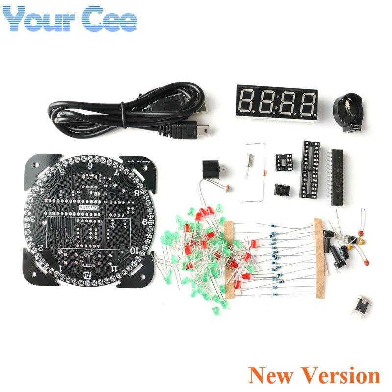 Rotativa DS1302 Módulo de Display Digital LED de Alarme Relógio Digital LED Indicador de Temperatura Eletrônico DIY Kit Placa de Aprendizagem 5 V Novo