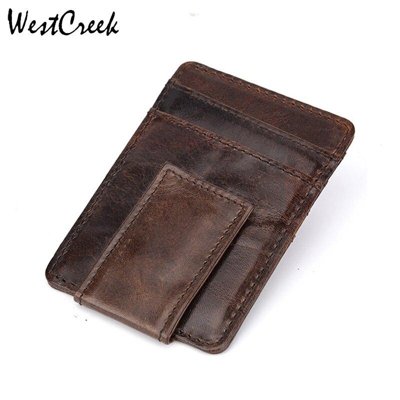 33e665a9a ... Delgado carteras de viaje en caso de tarjeta de. Cheap WESTCREEK de  cuero genuino de la marca para hombre dinero Clip cartera bolsillo  delantero pinza