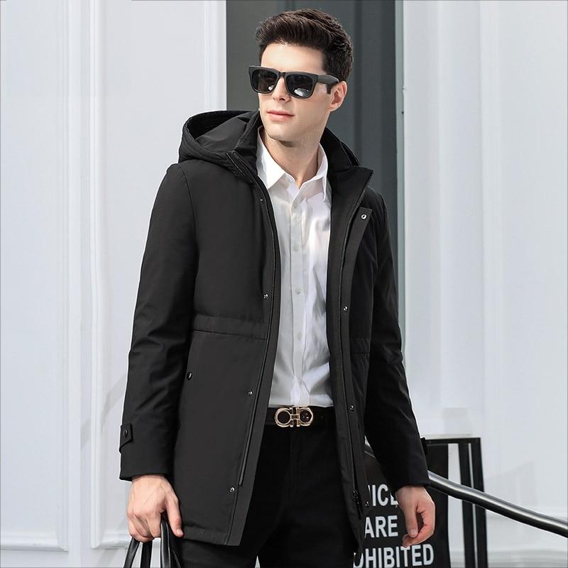 DZYS White Duck   Down   Jacket Hat Detachable Warm   Down     Coat   for Men Male 8761