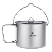 TOMSHOO 900ML Portable Titanium Pot Titanium Water Mug Cup with Lid and Foldable Handle for Outdoor Camping Cooking Picnic