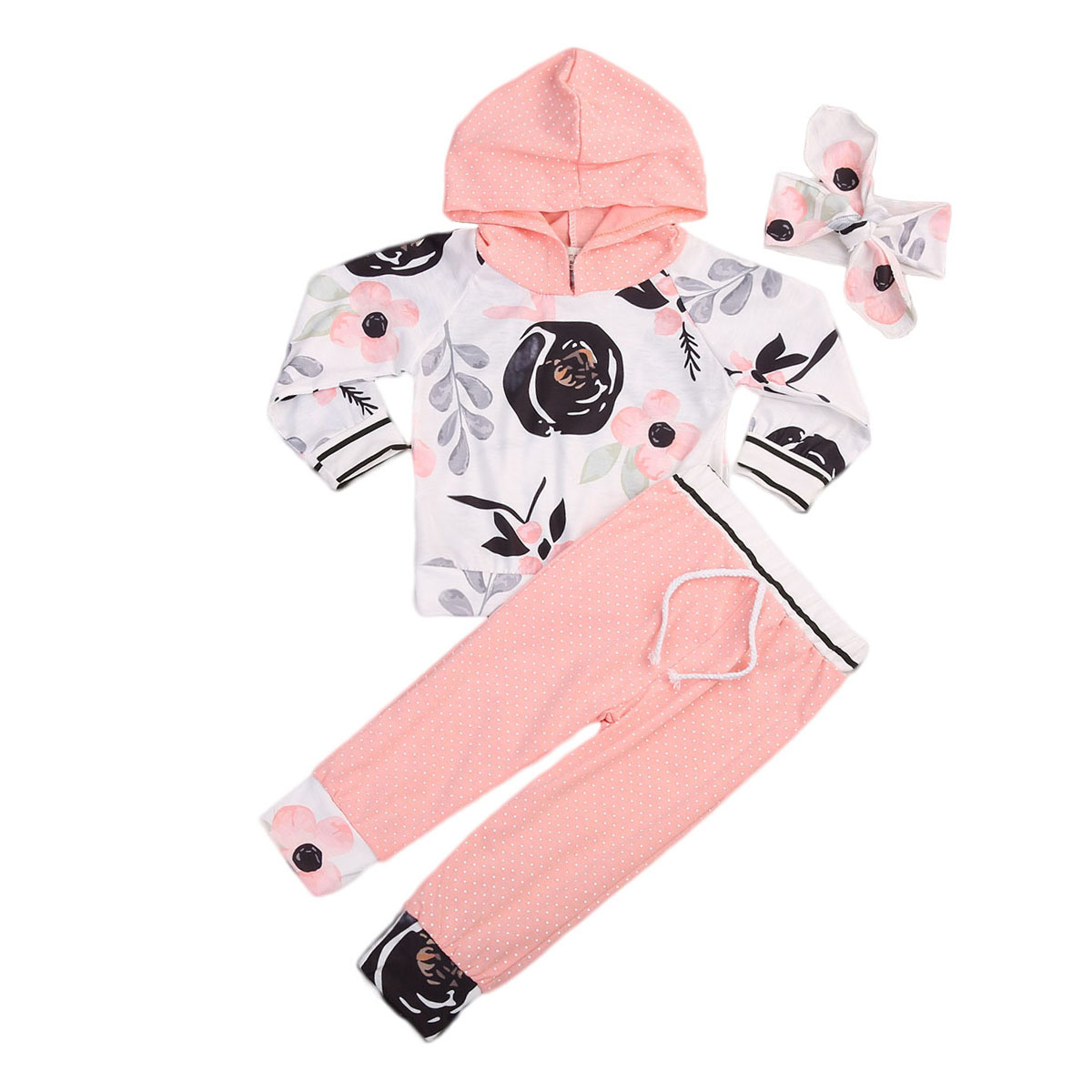 2017 New Brand 3pcs Toddler Infant Newborn Baby Boy Girl Floral T-shirt Tops Pants Headband Outfits Set Casual Clothes 3pcs set newborn infant baby boy girl clothes 2017 summer short sleeve leopard floral romper bodysuit headband shoes outfits