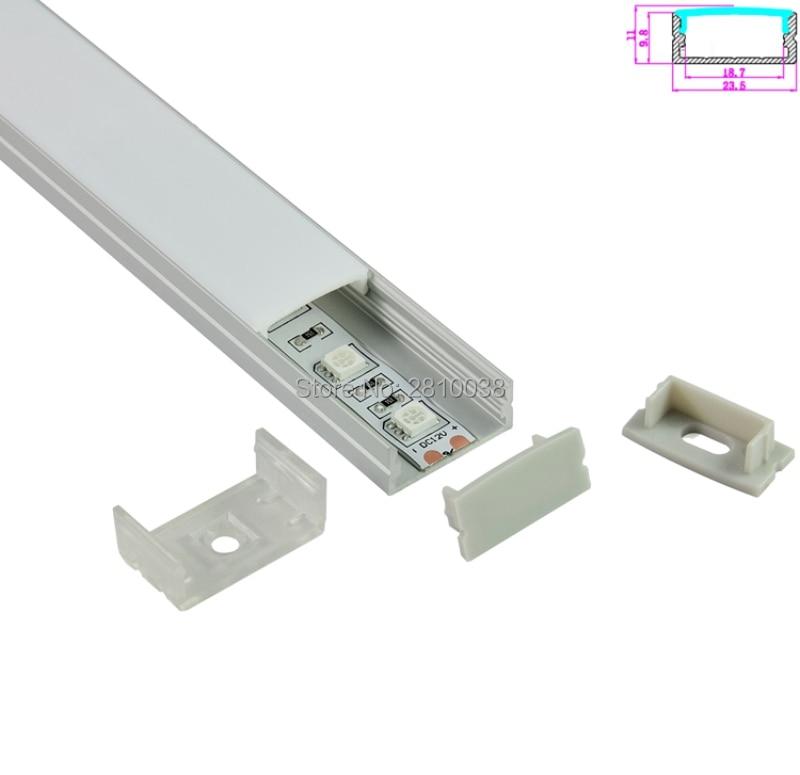 10 komplekti / partija U tipa anodēts sudraba LED alumīnija profils AL6063 alumīnija vadīts profils LED ekstrūzijas padziļinājumā sienas gaismai