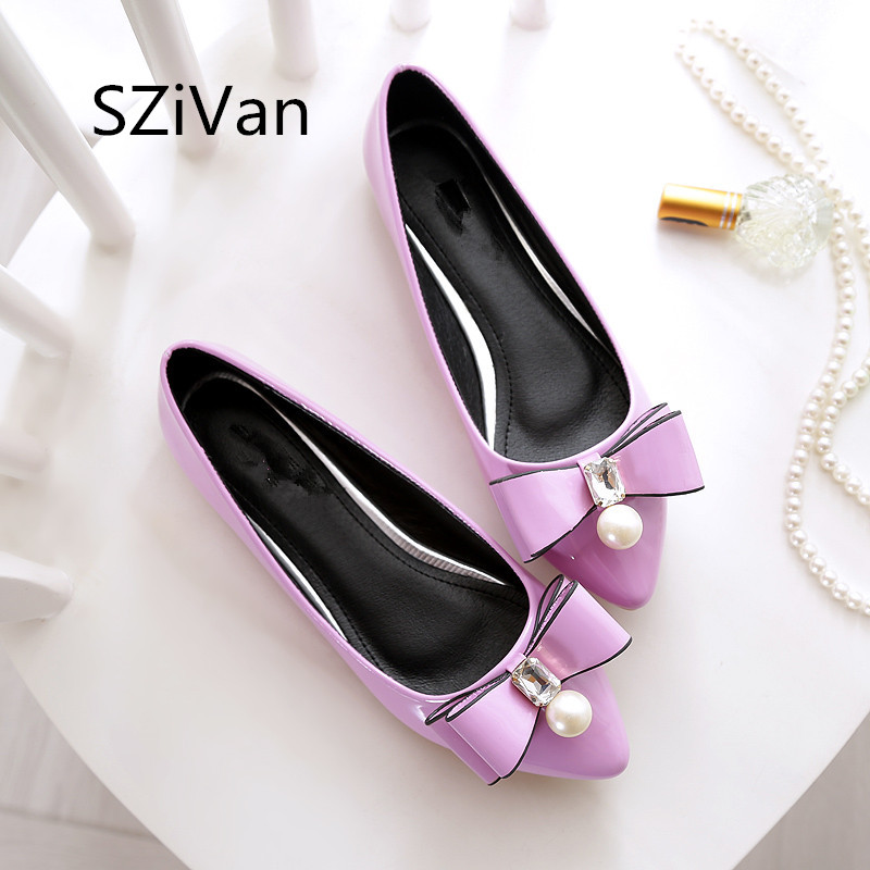 SZiVan Women casual flat heel shoes New fashion pointed Toe bowknot crystal diamond leather Women's flats shoes big size 45 2017 womens spring shoes casual flock pointed toe narrow band string bead ballet flats flat shoes cover heel women flats shoes