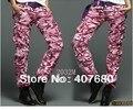 Novos chegada das mulheres moda legal solto macacão de veludo rosa carga calças de camuflagem multi-bolso calças do exército