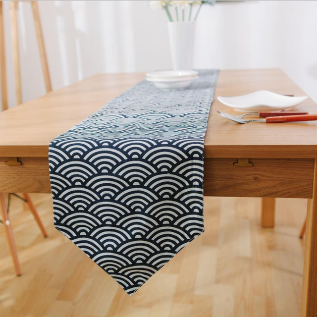 Superbe 1PC Japanese Style Blue Waves Rectangle Linen Cotton Table Runners For Home  Decoration Sushi Shop Dining