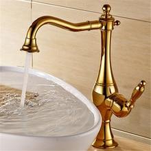 Kitchen Faucets Brass Sink Mixer Tap Hot & Cold Single Handle Rotating Water Crane Mixer Faucet Golden/Chrome Bath Basin Faucet недорого