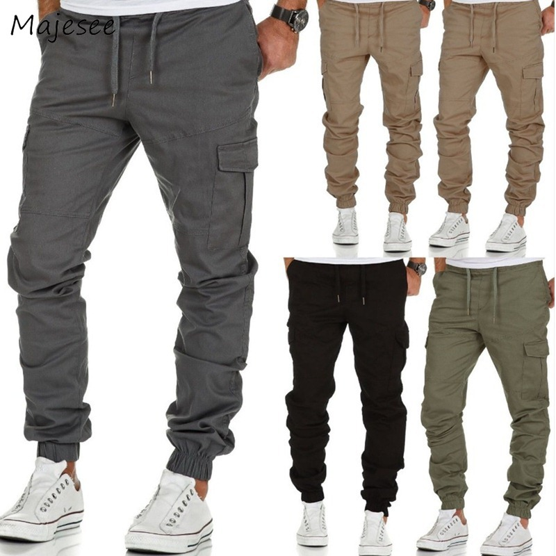 Pants Men Full Length Drawstring Loose Solid Simple All-match European Style Leisure Soft Pant Mens Pockets Daily Thin Trousers